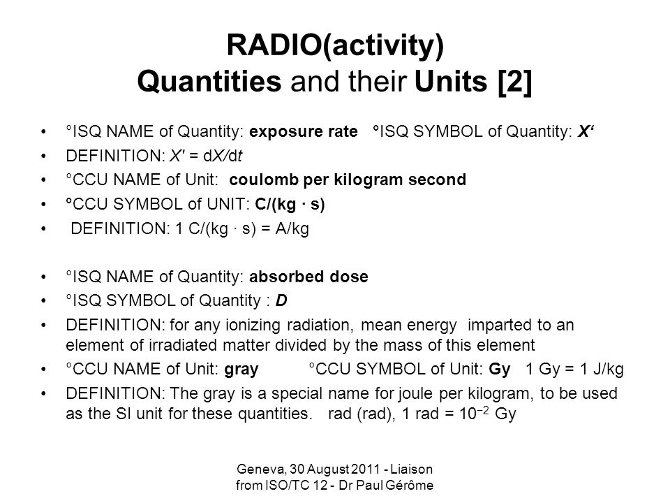 RADIO(activity) Quantities and their Units [2]
